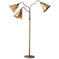 Swedish, Adjustable Organic Floor Lamp, Brass, Painted Metal, Fabric, 1940s