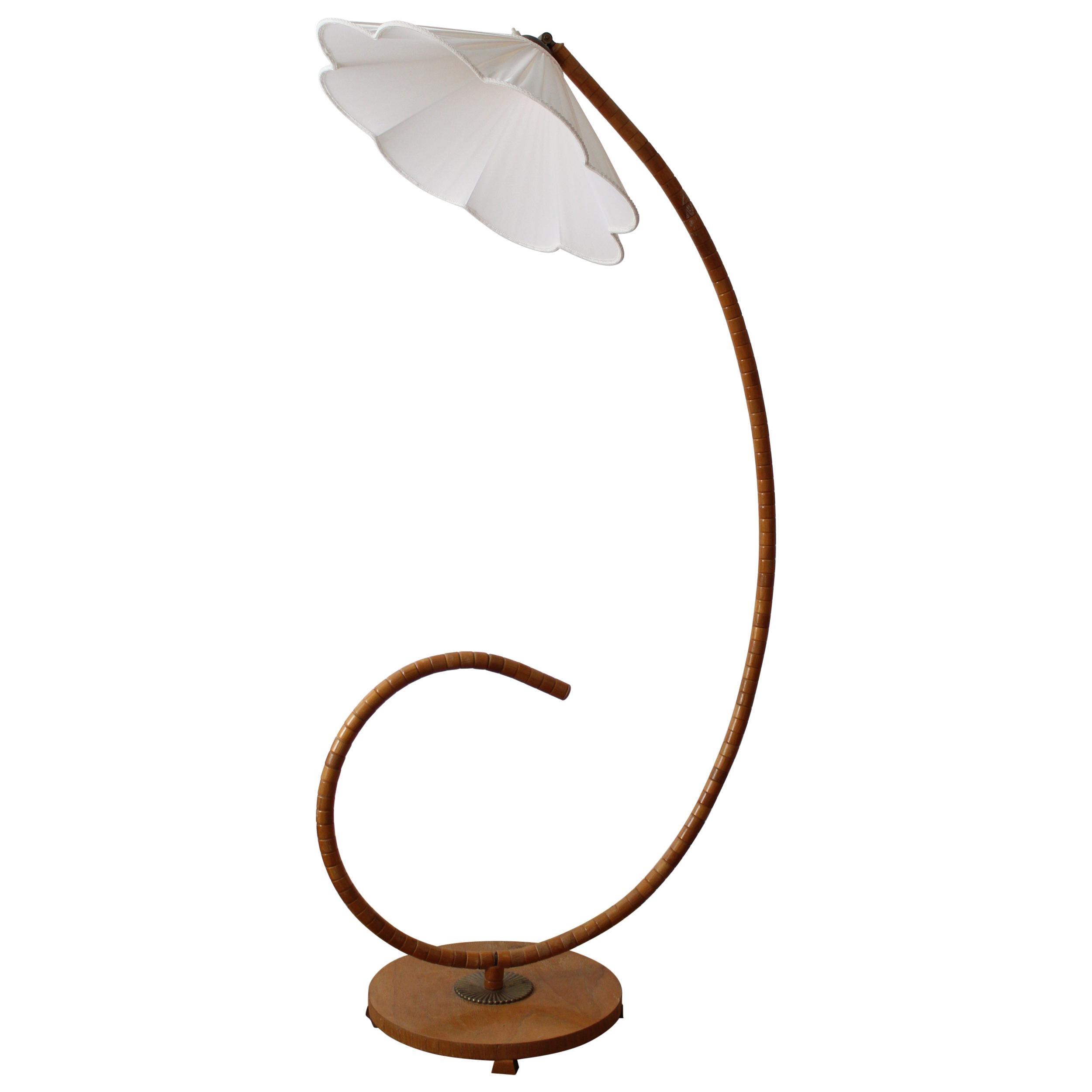 Swedish, Adjustable Organic Floor Lamp, Wood, Brass, Fabric, Sweden, 1940s