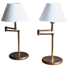 Swedish, Adjustable Table Lamps, Brass, Sweden, C. 1960s