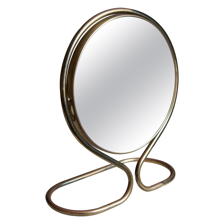 Swedish, Adjustable Table Mirror, Brass, Mirror Glass, Sweden, 1960s