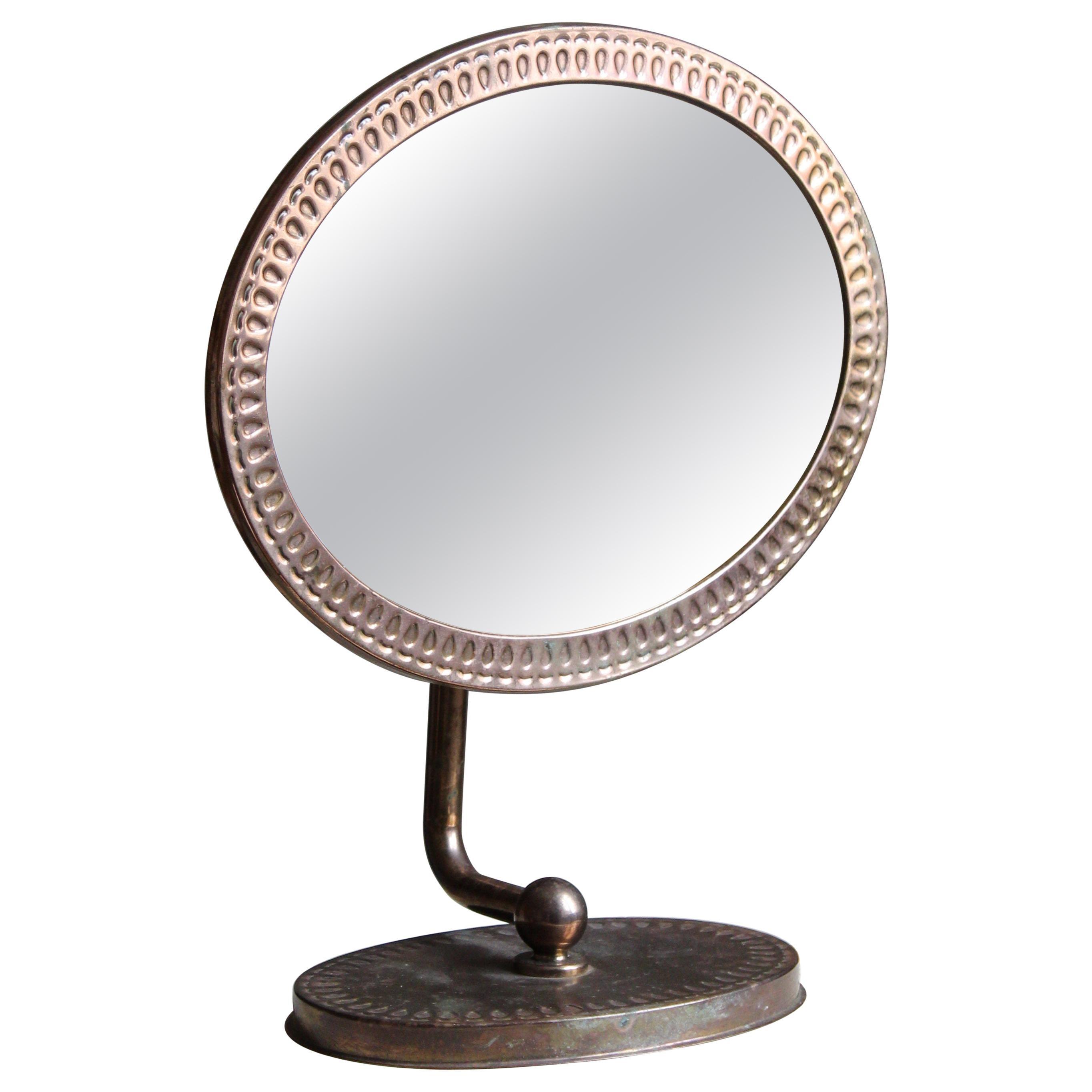 Swedish, Adjustable Table Mirror, Copper, Mirror Glass, Sweden, 1960s