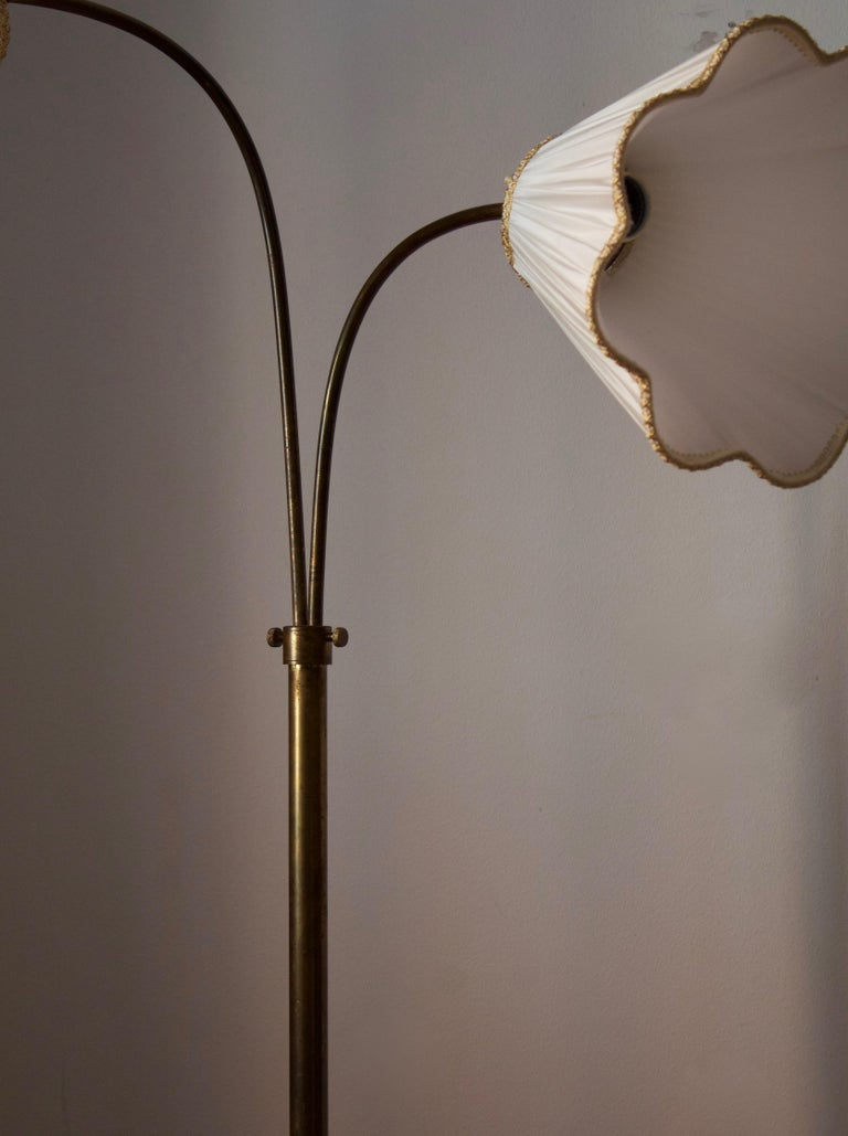Swedish, Adjustable Two-Armed Floor Lamp, Brass, Marble, Fabric, Sweden, 1940s In Good Condition For Sale In West Palm Beach, FL