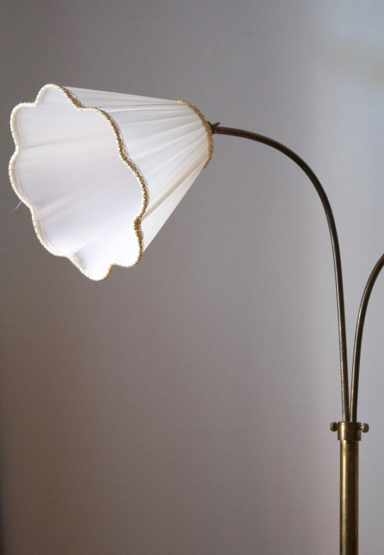 Mid-20th Century Swedish, Adjustable Two-Armed Floor Lamp, Brass, Marble, Fabric, Sweden, 1940s For Sale