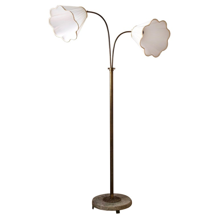 Swedish, Adjustable Two-Armed Floor Lamp, Brass, Marble, Fabric, Sweden, 1940s For Sale
