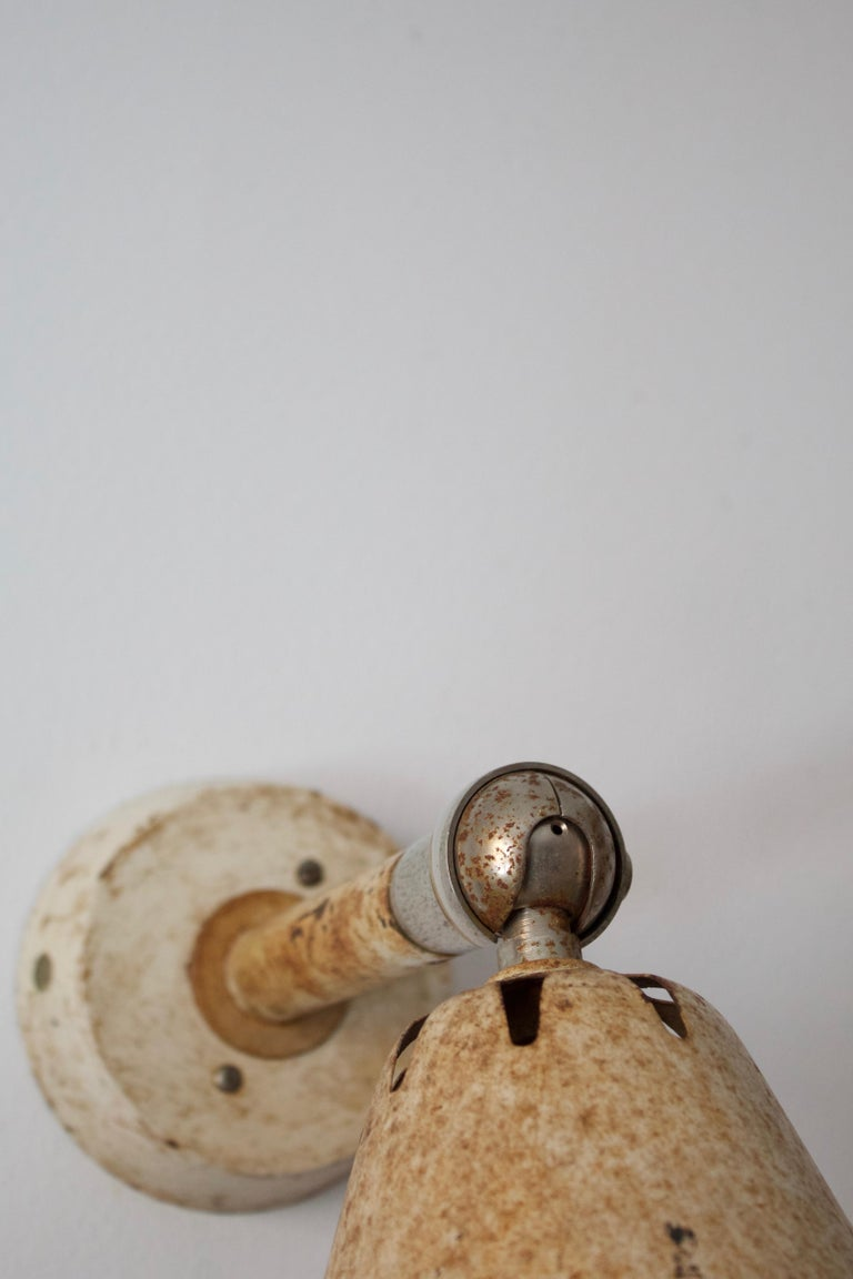 Mid-20th Century Swedish, Adjustable Wall Light, Steel, Lacquered Metal, Sweden, c. 1940s For Sale