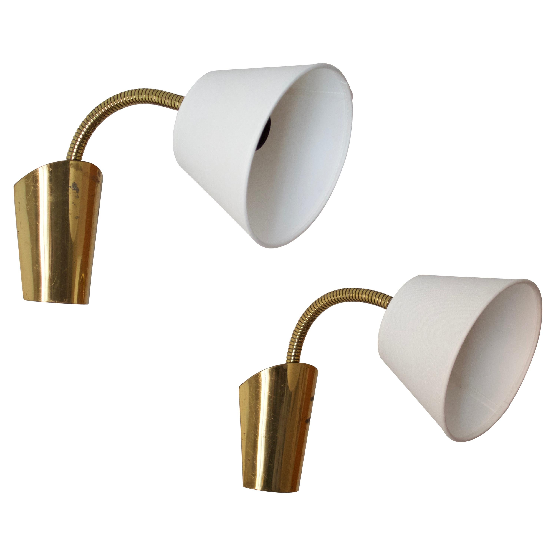 Swedish, Adjustable Wall Lights, Brass, Fabric, Sweden, 1940s