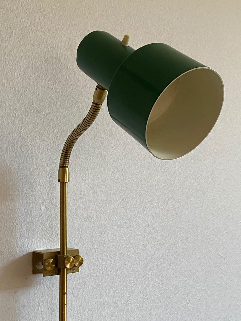 Mid-20th Century Swedish, Adjustable Wall Lights, Brass, Green-Lacquered Metal, Sweden, 1950s For Sale