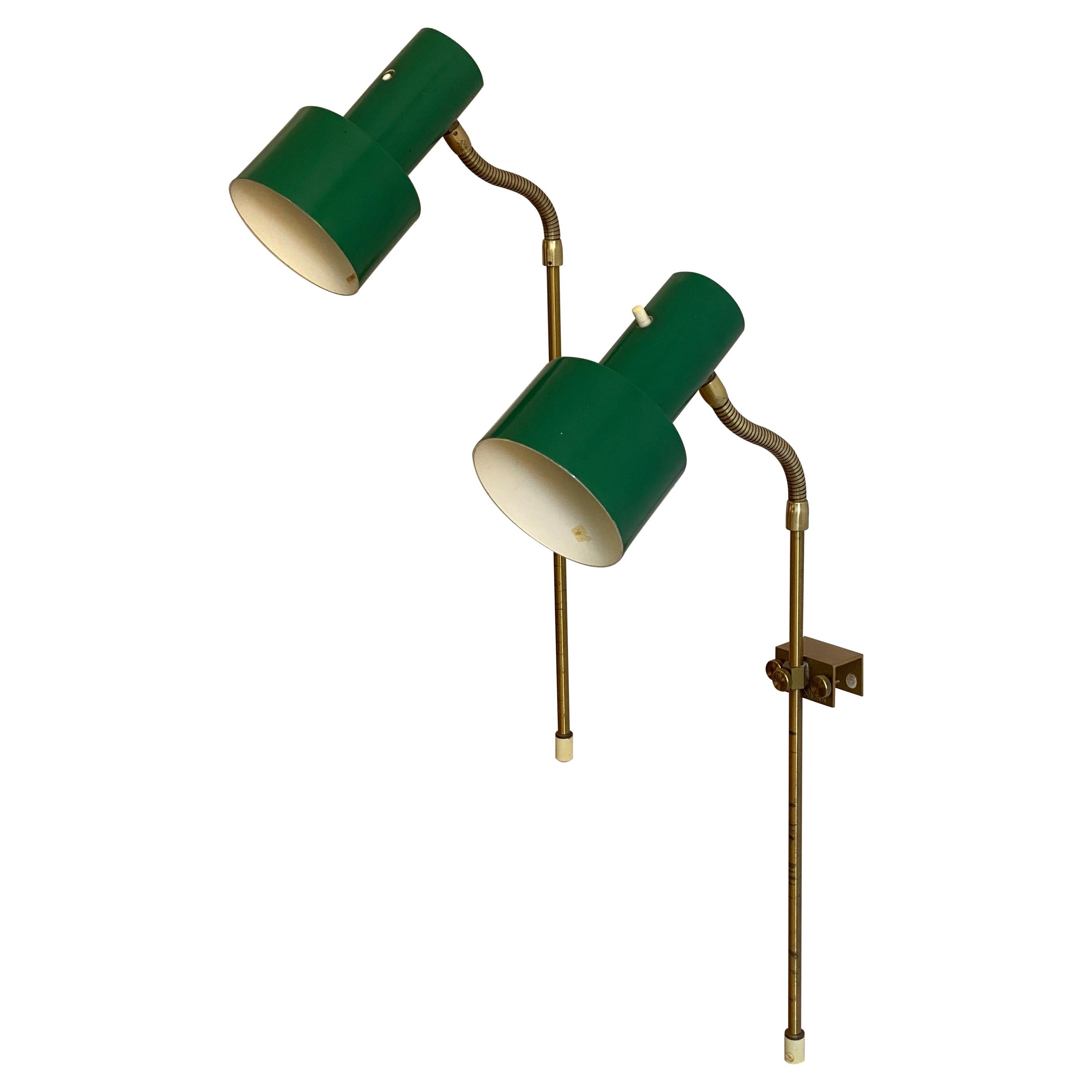 Swedish, Adjustable Wall Lights, Brass, Green-Lacquered Metal, Sweden, 1950s