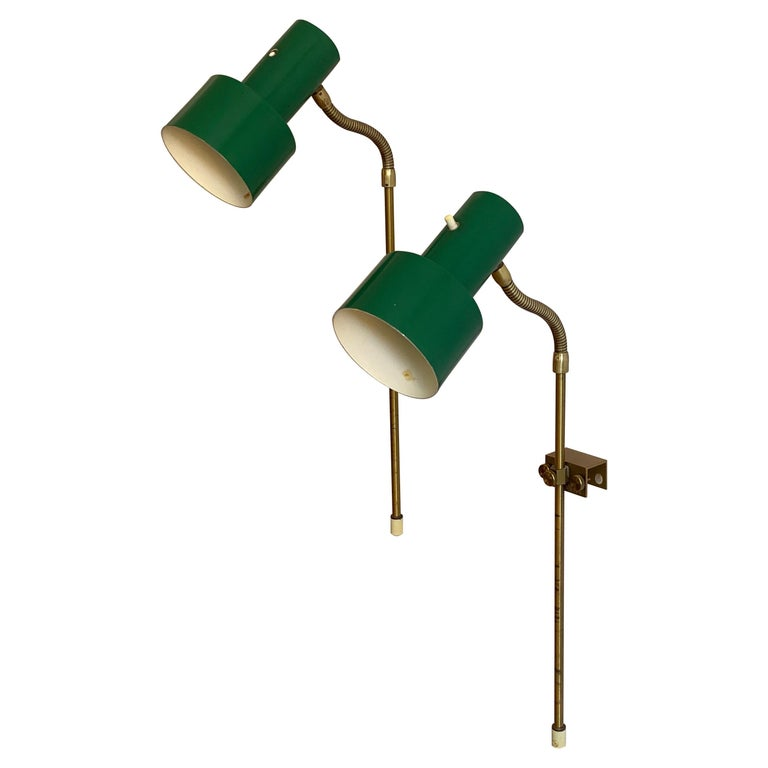 Swedish, Adjustable Wall Lights, Brass, Green-Lacquered Metal, Sweden, 1950s For Sale