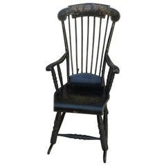 Swedish Antique Angel Rocking Chair Gungstol 6 Legs 1800s Black Gold