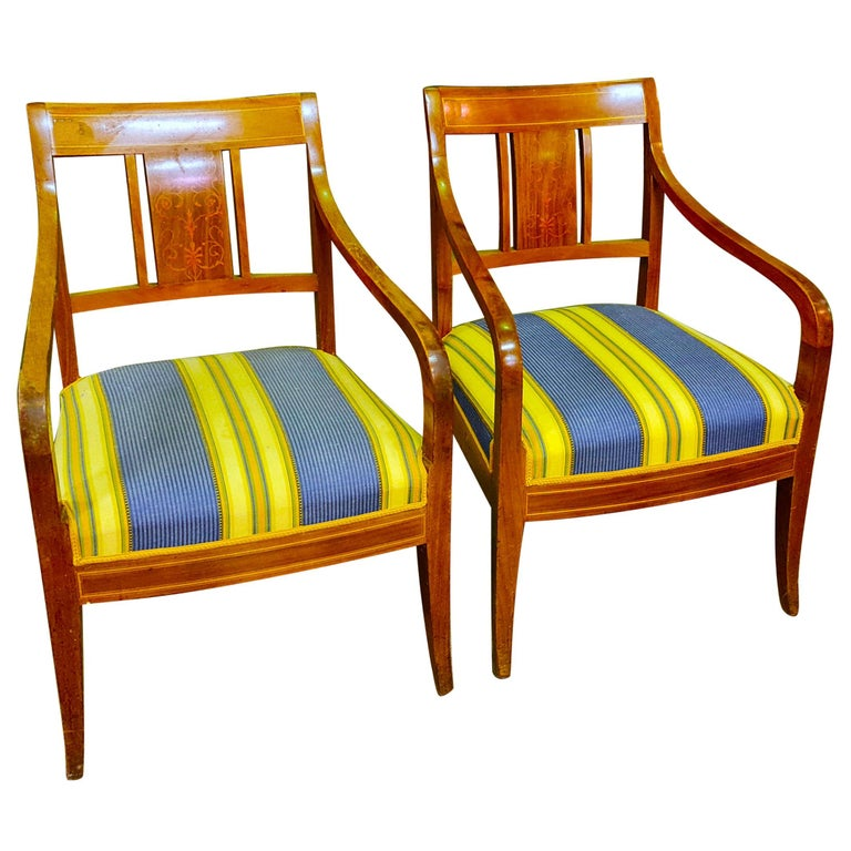 Swedish Antique Biedermeier Carver Chairs Square Back Late 1800s Marquetry Inlay For Sale