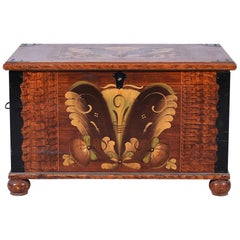 Swedish Antique Blanket Box Chest Folk Art Kurbits Hand Painted Country, 1800s