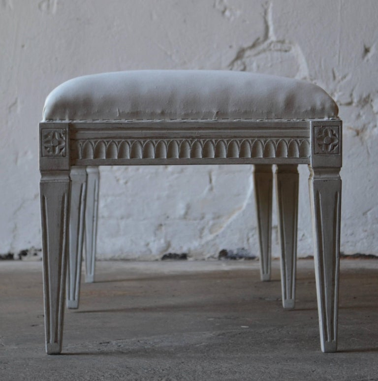 Hand-Carved Swedish Antique Gustavian Six-Legged Bench, circa 1830 For Sale