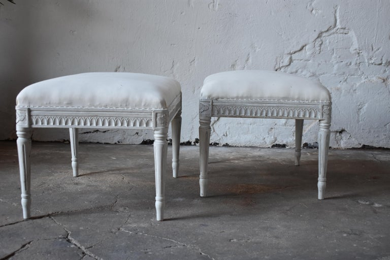 Hand-Carved Swedish Antique Gustavian Taburettes, circa 1800s For Sale