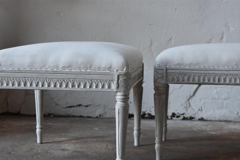Upholstery Swedish Antique Gustavian Taburettes, circa 1800s For Sale