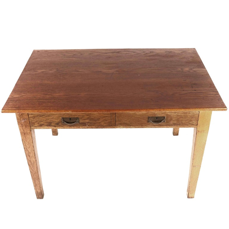 Swedish Antique Oak Kitchen Table with Two Sided Drawers