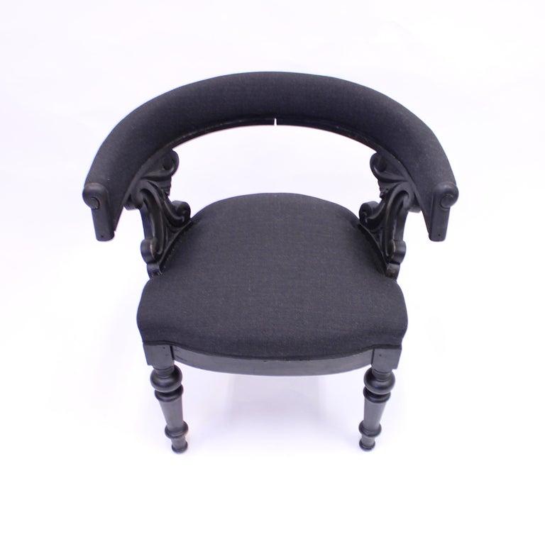 Fabric Swedish Antique Oak Klismos Chair, Late 19th Century For Sale