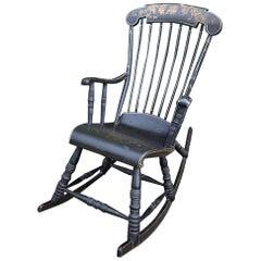 Swedish Antique Rocking Chair Gungstol 6 Leg 1800s Hand Painted Angel Black Gold