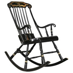 Swedish Antique Rocking Chair Gungstol 6 Legs 1800s Hand Painted Black Gold