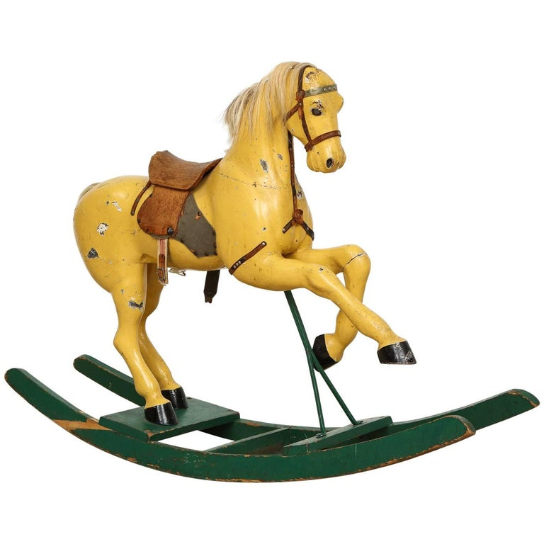 swedish antique toy rocking horse all original circa 1870 for sale