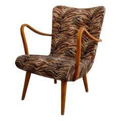 Swedish Arm Lounge Chair 1940s Zebra Pattern