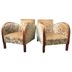 Swedish Art Deco Antique Armchairs Early 20th Century Golden Birch Bentwood Arms
