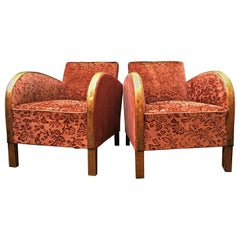 Swedish Art Deco Antique Armchairs Red Golden Birch Bentwood Arms, 1920s-1940s