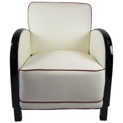 Swedish Art Deco Armchair Italian White Leather Ormolu Style Arms Club Tub