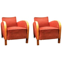 Swedish Art Deco Armchairs Early 20th Century Golden Birch Bentwood Arms Red