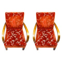 Swedish Art Deco Armchairs Open Arm Pair Early Mid-20th Century Honey Color Red