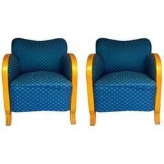 Swedish Art Deco Armchairs Pair of Club Tub Honey Color Blue Original