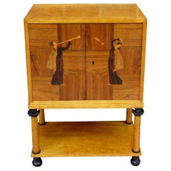 Swedish Art Deco Biedermeier Revival Bar Cabinet in Golden Birch and Rosewood