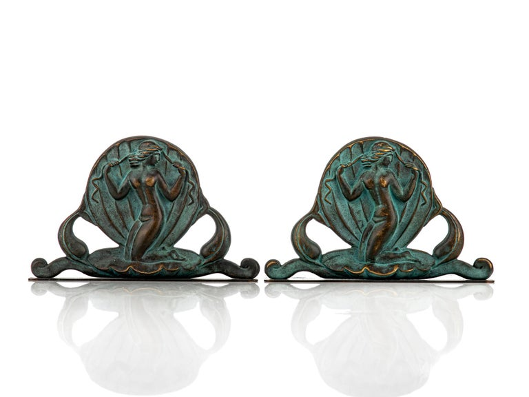Swedish Art Deco Bookends in Bronze by Oscar Andersson for Ystad Metall For Sale 1