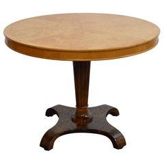 Swedish Art Deco Burl Birch and Elm Pedestal Table