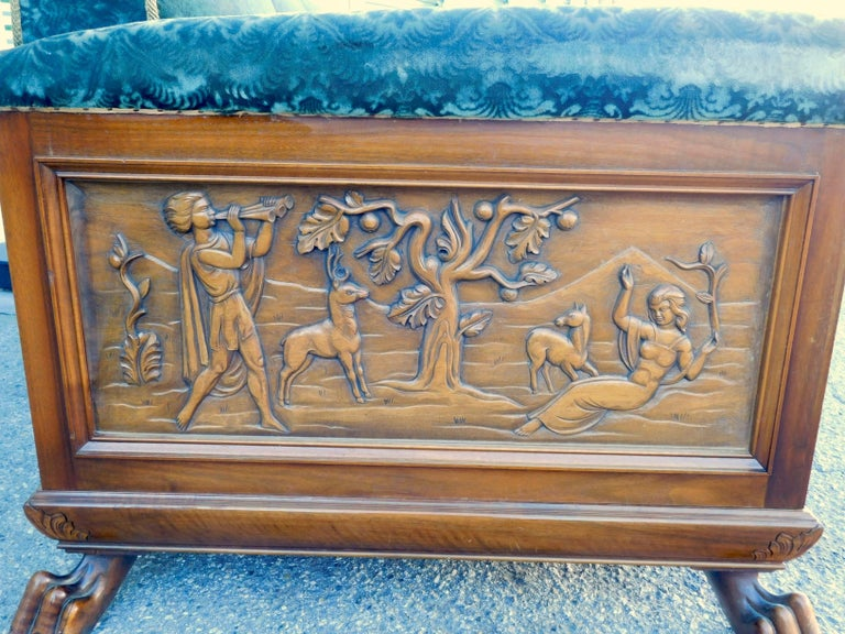 Swedish Art Deco Carved Paneled Sofa with Claw Feet by Eugen Hoglund, 1930s 4