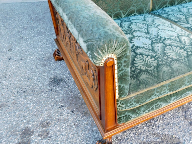 Swedish Art Deco Carved Paneled Sofa with Claw Feet by Eugen Hoglund, 1930s 6