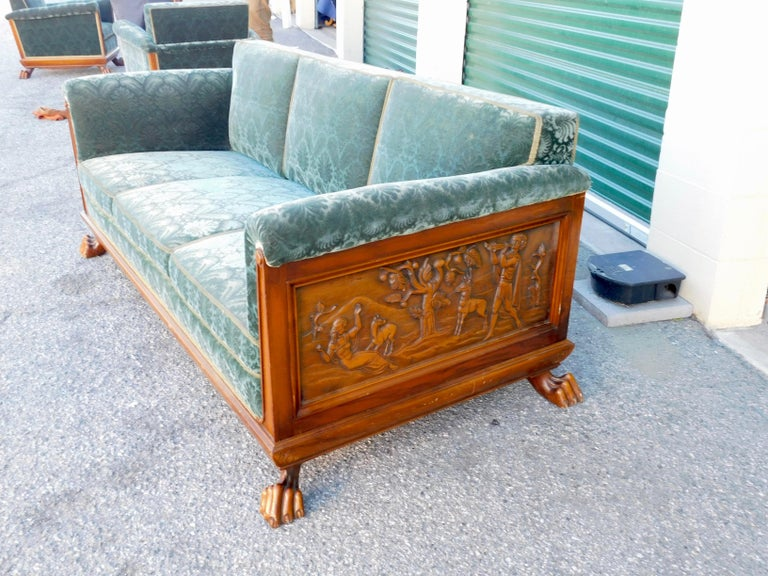 Swedish Art Deco Carved Paneled Sofa with Claw Feet by Eugen Hoglund, 1930s 7