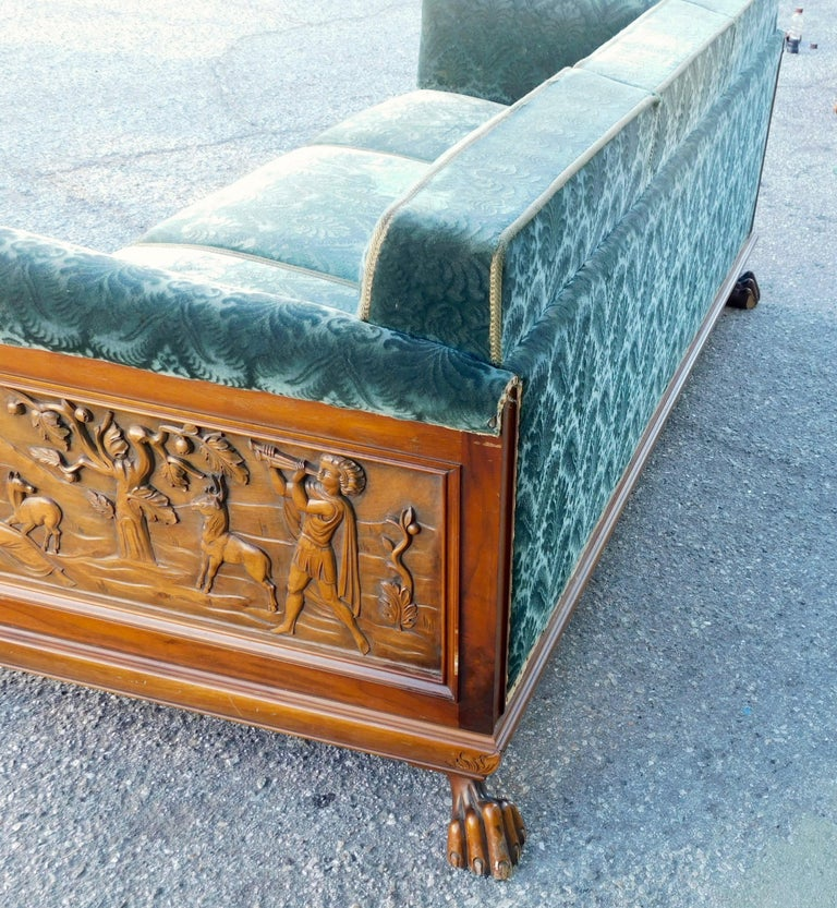Swedish Art Deco Carved Paneled Sofa with Claw Feet by Eugen Hoglund, 1930s 9