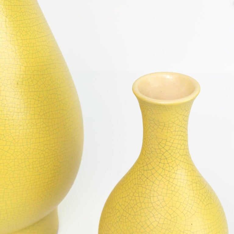 Scandinavian Swedish Art Deco Ceramic Vases in Yellow Crackle Glaze by Artist Ewald Dahlskog For Sale