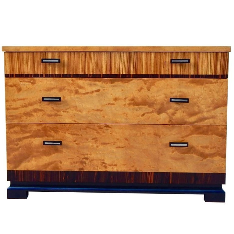 Swedish Art Deco Chest of Drawers in Flame Birch and Rosewood, 1930