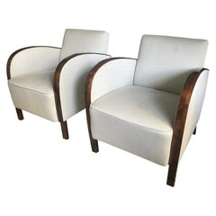 Newly Upholstered Cream / Off White Pair of Swedish Art Deco Club Chairs
