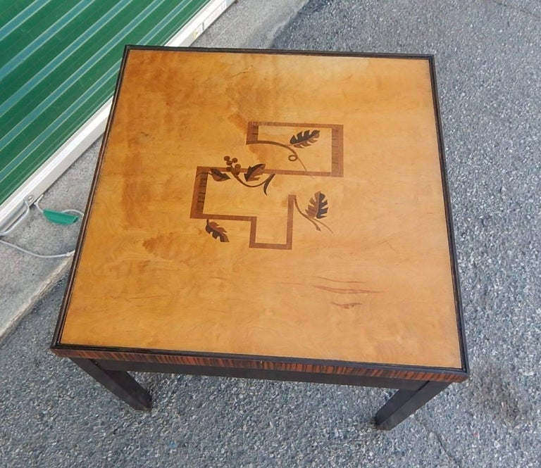 Swedish Art Deco Cubic Inlaid Side/End Table, circa 1930 In Excellent Condition For Sale In Richmond, VA