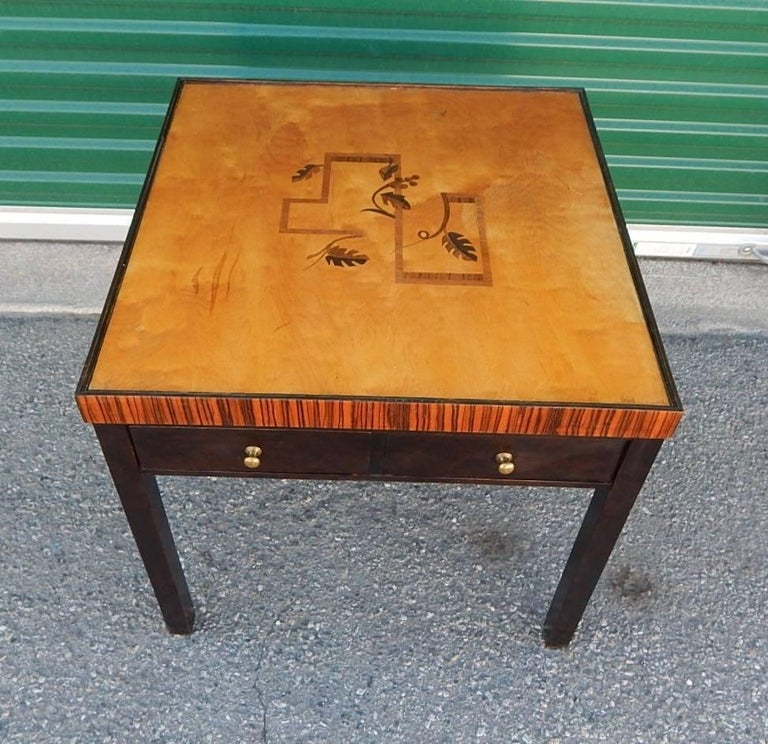 Mid-20th Century Swedish Art Deco Cubic Inlaid Side/End Table, circa 1930 For Sale