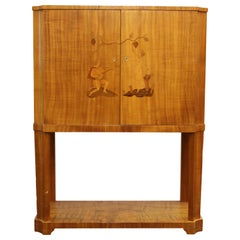 Swedish Art Deco Dry Bar or Bar Cabinet in Blonde Wood with Inlaid Illustration