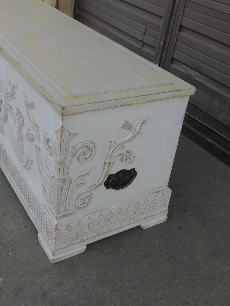 Swedish Art Deco Era Gustavian White Painted Storage Chest Circa 1920 For Sale 2