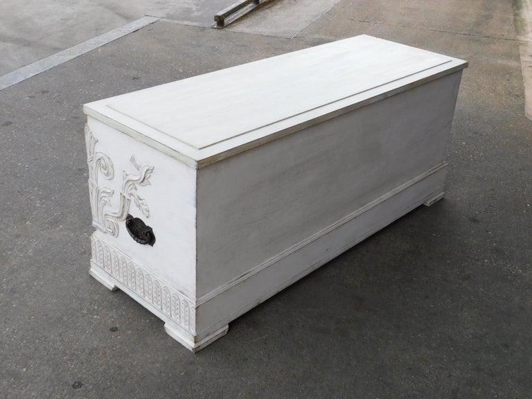 Swedish Art Deco Era Gustavian White Painted Storage Chest Circa 1920 For Sale 4