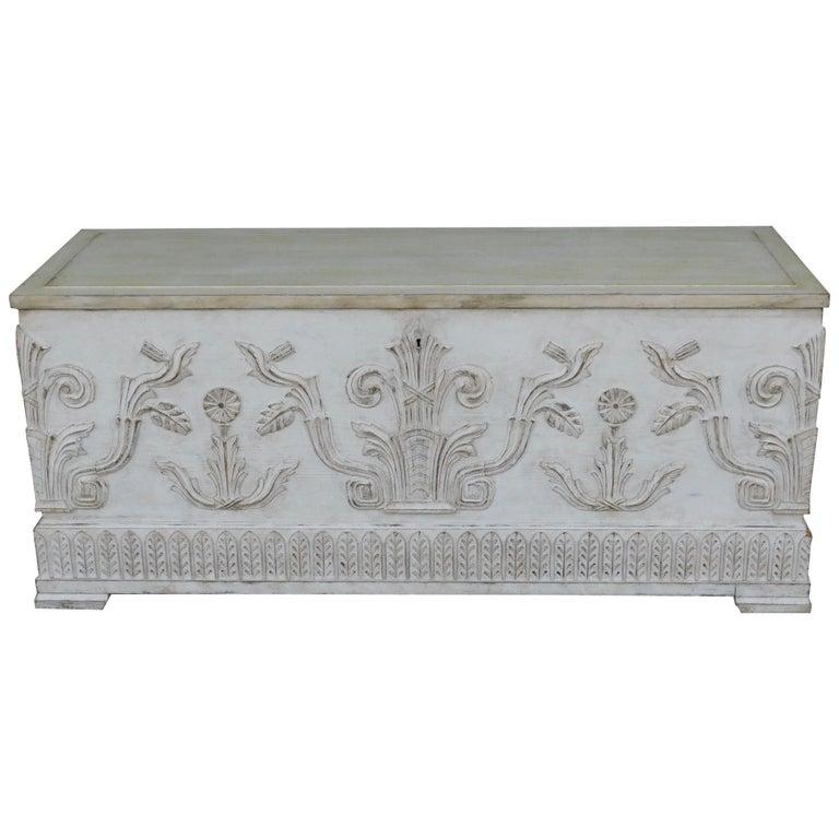Swedish Art Deco Era Gustavian White Painted Storage Chest Circa 1920 For Sale