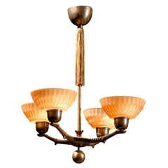 Swedish Art Deco Four-Arm Chandelier