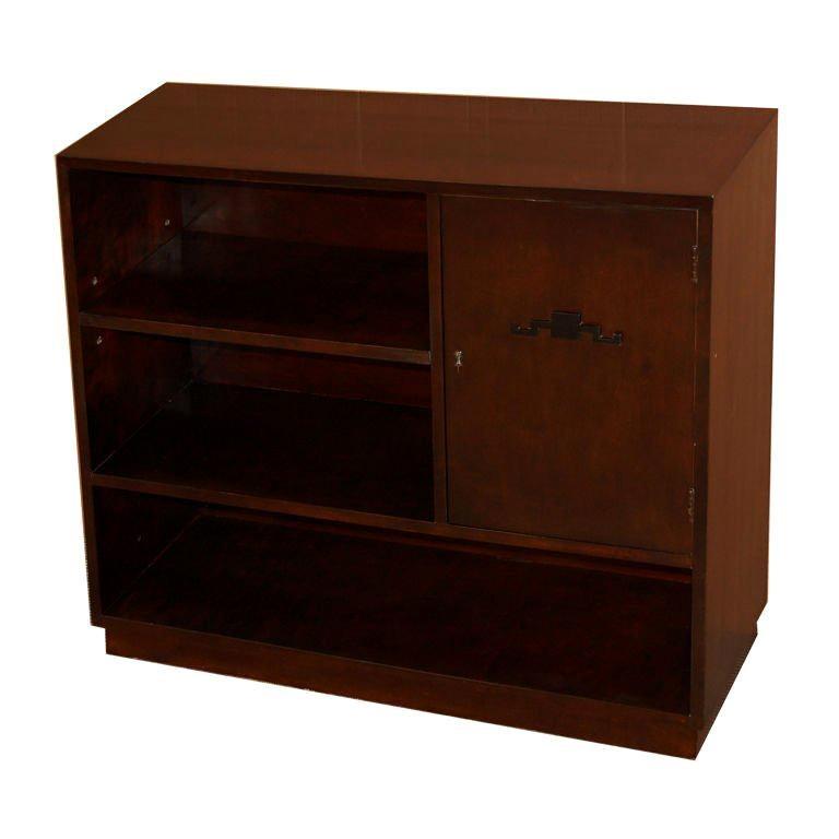 Swedish Art Deco Functionalist Dark Flame Birch Bookcase Cabinet