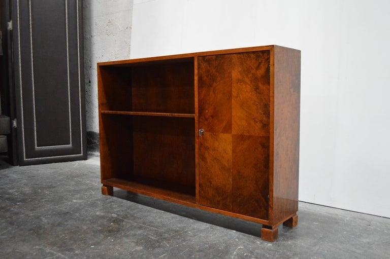 Modern Swedish Art Deco Functionalist Flame Birch Cabinet Bookcase